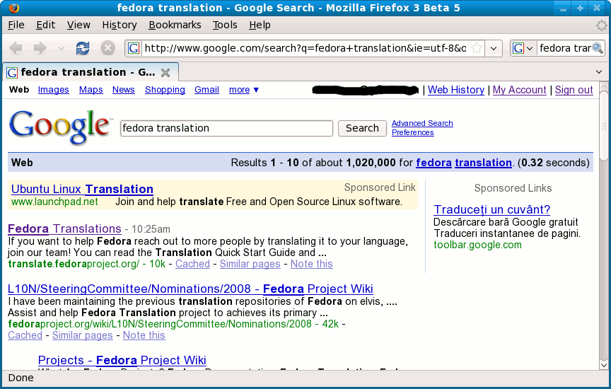 [fedora translation search]