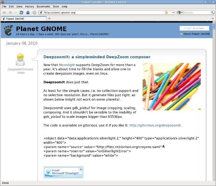 planet gnome silverlight