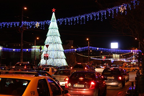 Chrismas city lights in Piata Universitatii, Bucharest