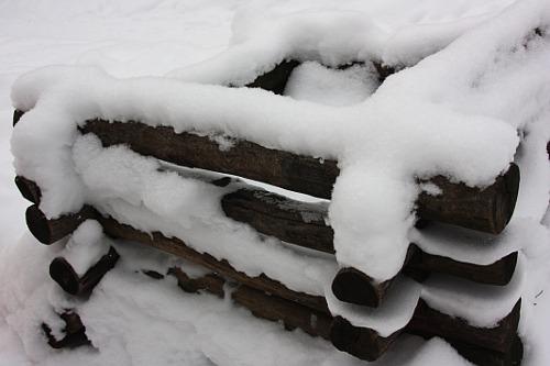 village under snow