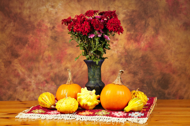 Still life with flowers and pumpkins